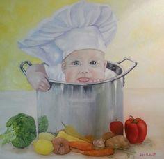 Stella Abek oil painting Little chef סטלה אבק ציור שמן שף קטן