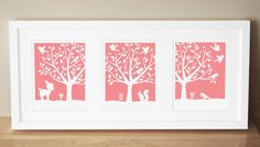 Darling for a nursery; you can get custom colors to match!  Peaceful Tree Series (3) 8x10s.  sugarfresh via Etsy.