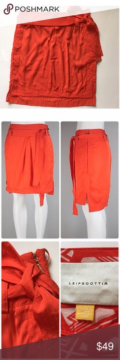 """LEIFSDOTTIR Anthropologie Sapporo Tie Waist Skirt Leifsdottir Anthropology Sapporo satin orange/ Red Tie Waist Skirt with pockets:), size 4, Rayon/Viscose blend in very good condition. Waist: 28"""" , Length: 19,5"""". Ask all questions before purchase! No trades! Bundle to save! Anthropologie Skirts High Low"""