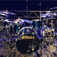Tama Drums in purple and blue lights - some marvelous cymbal plates in there! #DdO:) - DRUMS & DRUMMING JOY. Pinned via Bruce Tremble's the Enginer Room #Pinterest board.