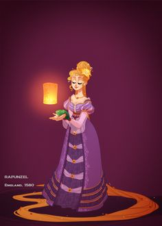Amazing Disney Princess illustrations with the characters in historically accurate costumes by Claire Hummel