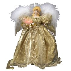 Kurt Adler 12-Inch Fiber Optic Gold Angel Treetop