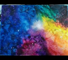 Items similar to Melted Crayon Galaxy Painting on Etsy