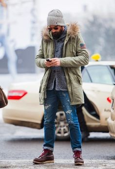 Men'S fashion › fashion for 30 year old men men's olive parka, grey shawl cardigan, blue ripped jeans, burgundy leather work boots Look Fashion, Winter Fashion, Mens Fashion, Mode Outfits, Casual Outfits, Herren Style, Blue Ripped Jeans, Cooler Look, Herren Outfit