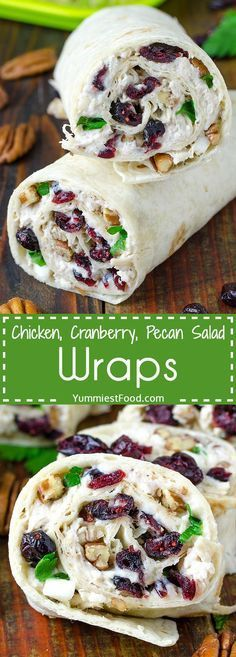 Chicken, Cranberry, Pecan Salad Wraps - a super lunch or wonderful addition! This salad is perfect for any occasion and very easy to make. Chicken, Cranberry, Pecan Salad Wraps - delicious and satisfy (Chicken Dishes For Lunch) Lunch Snacks, Lunch Recipes, Cooking Recipes, Easy Recipes, Healthy Wrap Recipes, Work Lunches, Pecan Recipes, Cooking Games, Recipes For Wraps