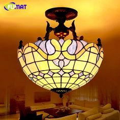 Fumat European Brief Vintage Art Tiffany Pendant Lights Hexagonal Simple Stained Glass Light Fixtures Dining Room 2018