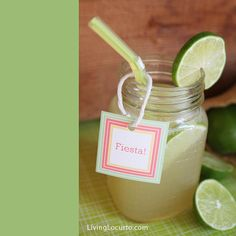 Fun Cinco De Mayo Party Ideas with Free Printables to help make your spring celebration complete! Easy margarita recipe and party decorations. Easy Margarita Recipe, Margarita Party, Margarita Recipes, Summer Drinks, Fun Drinks, Party Drinks, Beverages, Cocktails, Mexican Menu