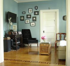 wall color and antique furnishings