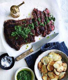 Char-grilled flank steak with crisp potatoes and salsa verde recipe :: Gourmet Traveller
