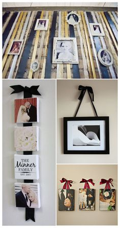 Frames and canvases can be strung along complementary ribbons to tie in your wedding colors or your home decor into your display.