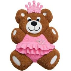 Transform a Teddy Bear Pan cake into the belle of the ball with girly-girl details. Top a fondant crown with piped-icing flowers and add a piped-icing ruffled tutu.