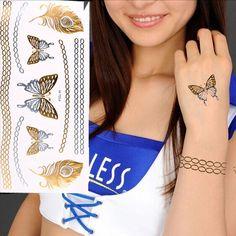 Pluma mariposa cadena metálica tatuajes temporales pegatina arte corporal