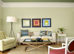 Wall Color: Dune; Trim: Simply White; Ceiling: Aventurine. All by Benjamin Moore  Perfect green paint color scheme for any living space.
