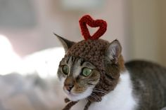 I Heart You Cat Hat Valentine's Day Holiday Love by scooterKnits, $16.00    Big Max, Gonzo and Chumley all need one of these. Maybe my husband does too.  ;-)