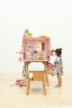 modular Kororo desk and stool by Torafu Architects