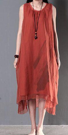 Red layered summer dresses silk and linen patchwork new design sundress