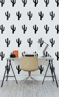 Major desk envy with this cactus wallpaper! Striking monochrome tones bring a totally sophisticated look to your home office spaces.