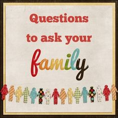 Questions To Ask Your Family - Perfect for memory keeping! Family Reunion Activities, Family Games, Family Reunions, Youth Activities, Group Games, Family Reunion Favors, Family Gatherings, Project Life, Family History Book