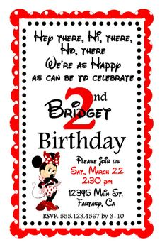 Minnie Mouse Party: Invitation.