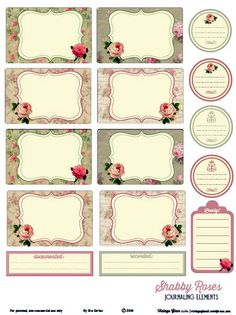 Free Shabby Roses Journal Cards and Labels from Vintage Glam Studios Papel Vintage, Vintage Glam, Vintage Tags, Vintage Labels, Vintage Roses, Printable Tags, Printable Paper, Free Printables, Pocket Scrapbooking