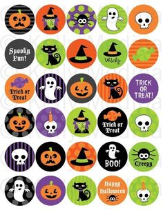 Halloween - 1.5 inch Circle Digital Collage Sheet - Commercial use for Cupcake Toppers, Magnets, Paper Crafts and Products
