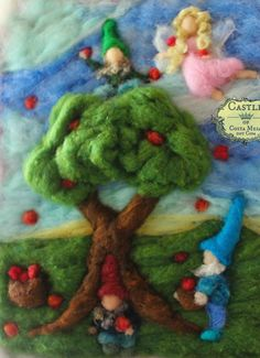 Apple Harvest by Nunu. Unframed Needle-Felted by Castleofcostamesa