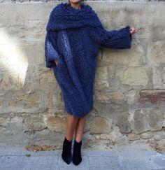 Blue Dress/ Midi Dress with Sleeves/ Winter Dress/ Shift Dress/ Womens Plus Size Clothing