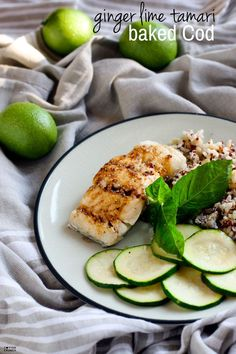Gluten Free Ginger Lime Tamari baked Cod. It's light, flavorful, healthy, and ready in 15 minutes. A great Spring or Summer meal! Looking for more ways to season fish? Check out my list on cottercrunch.com