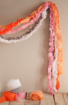 DIY Crepe Paper Bouquet at Project Wedding How to Make Crepe Paper Bows by The Flair Exchange Party Ceiling Decor at Project … Diy Party Decorations, Diy Party Garland, Crepe Paper Decorations, Diy Decorations With Streamers, Streamer Ideas, Halloween Decorations, Crepe Paper Crafts, Fabric Crafts, Hawaian Party