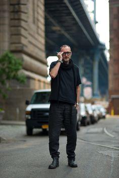 Simone Cecchetto on Anchorage PL, Brooklyn, New York. clothes, boots : A1923 glasses : Kuboraum jewelries : Werkstatt Munchen, Chrome Hearts