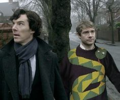 """""""I'm not looking at him… I'm not saying anything… He just wants attention."""" Sherlock thinks John's jumpers are getting a bit ridiculous. #BBCSherlock"""