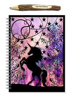 This is a 100 sheet (200 page) spiral bound notebook featuring a print of my original unicorn papercut. It features a unicorn in the woods surrounded by trees, swirls and stars. The original piece has been backed on a galaxy backing and has been scanned to produce the final printed image.  The back of the book features our printed business logo.  A5 measures 5.8 x 8.3 inches and has a spiral binding.  The finish is optional with plain pages or lined sheets making a beautiful notebook, art…