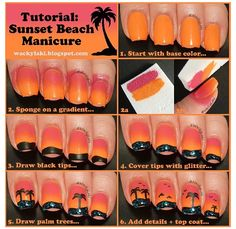 Sunset beach nails pictorial. Maybe just one palm on one nail. Like the colors.