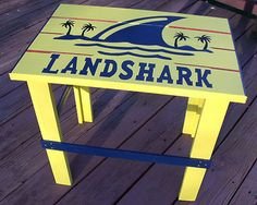 LandShark deck / patio table Patio Yard Ideas, Patio Table, Outdoor Tables, Backyard Signs, Backyard Patio, Tropical Adirondack Chairs, Outdoor Projects, Wood Projects, Adirondack Furniture