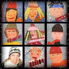 Self Portraits in the snow Winter Art Projects, School Art Projects, Middle School Art, Art School, 8th Grade Art, Kindergarten Art, Art Lessons Elementary, Teaching Art, Teaching Resources