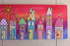 """Right side of """"Carnival City"""" - mixed media on plywood panel."""