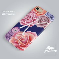 Floral iphone case / Flower Samsung Galaxy case with name / initial phone case. by LittleFeature at ETSY Floral Iphone Case, Iphone Cases, Personalized Phone Cases, Plastic Design, Flower Prints, Iphone 8 Plus, Etsy Store, Initials, My Etsy Shop