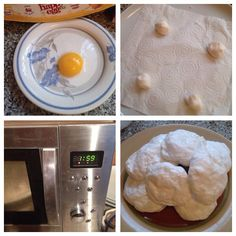 Microwave meringues - 300grms of icing sugar one egg white, mix until it looks like a big ball like a chewing gum - roll 4 marble size balls and put on a COLD plate with kitchen towel zap in the microwave for 2 mins! Honest it really really works!