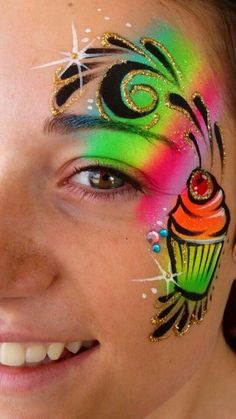 Laura Oliver face painting design Face Painting Tutorials, Painting Templates, Face Painting Designs, Doll Face Paint, Doll Painting, Neon Cupcakes, Black Face Paint, Cheek Art, Girl Face