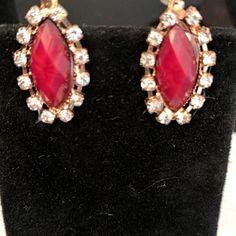 Deep red stone zirconia oval lobster clasp earrings