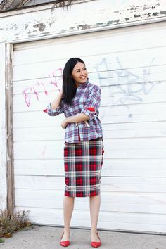 Mixing my plaid for today's outfit of the day.