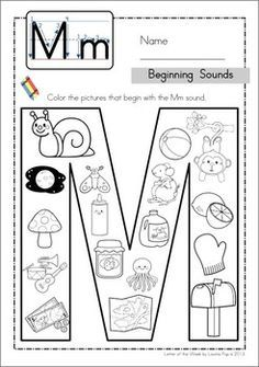 Phonics Letter of the Week Mm: Beginning Sounds color it page. Letter M Activities, Alphabet Activities, Literacy Activities, Letter M Worksheets, Coloring Worksheets, Preschool Letters, Kindergarten Literacy, Preschool Learning, Teaching Letters
