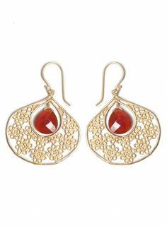 Johnny Was Orange Chalcedony Earrings #boho #chic #jewelry #accessories #glam #sparkle #semiprecious #stone #statement #gold