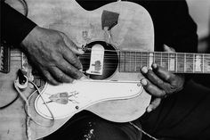 """""""It is from the blues that all that may be called American music derives its most distinctive character."""" ~ James Weldon Johnson // Photo: The Hands of Big Joe Williams: Detail of the hands and guitar of blues great Big Joe Williams recording for Moe Asch's Folkways Records in May 1966 in New York City, New York. by David Gahr"""