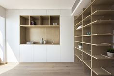 Cabinet Of Curiosities Turning A Dark Cellular Layout Into Open Light Filled Living Place 4 Display Shelves, Shelving, Bibliotheque Design, Timber Panelling, Living Place, Cabinet Of Curiosities, Cabinet Design, Art Cabinet, Office Cabinets