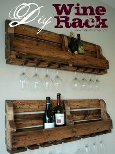 DIY Pallet Projects & Ideas | DIY Wine Rack | Amazing Do It Yourself Projects Made With Wooden Pallets | Living Room, Bedroom, Indoor and Outdoor, Kitchen, Patio. Coffee Table, Couch, Dining Tables, Shelves, Racks and Benches http://www.thrillbites.com/35-diy-pallet-projects-ideas