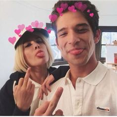 Halsey & Tyler Posey on the set of her music video