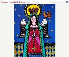 50% off - Virgin of Guadalupe Print Poster Art of Painting -Mexican Folk Art Frida Kahlo