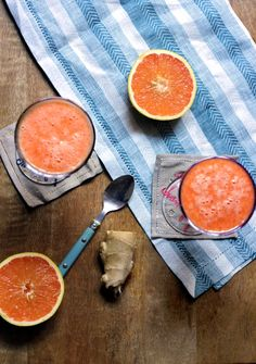 """""""Pretty in Pink"""" grapefruit ginger smoothie: anti-inflammatory, healing, and super-charged with antioxidants. Mood-lifting and totally delicious!"""