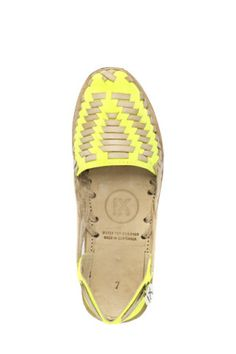 Neon Yellow Woven Leather Huarache Sandal